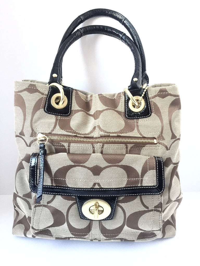 Coach Brown Monogram Large Canvas Tote