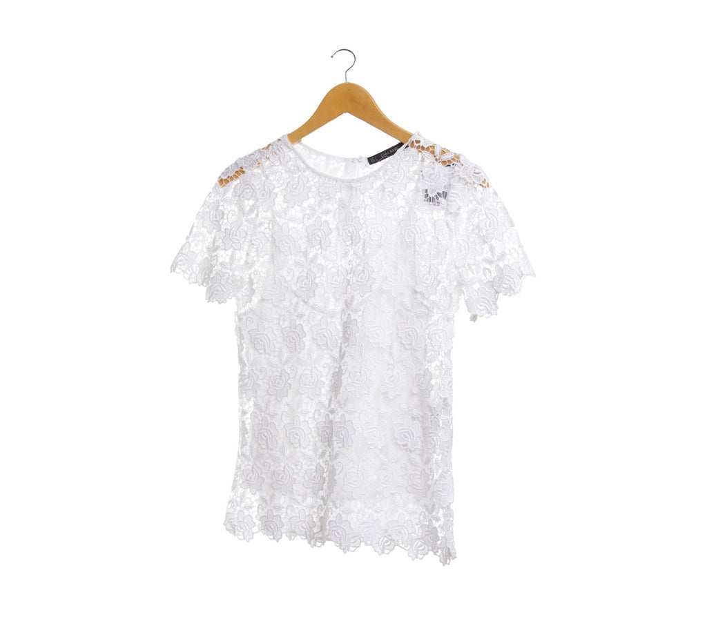 Zara Off White Lace Blouse Size XL
