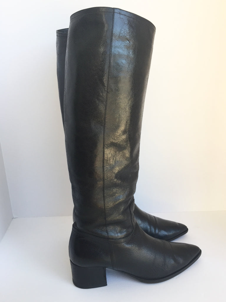 Miu Miu Crackled Tall Black Leather Pointy Toe Boots Size 38 US 7.5