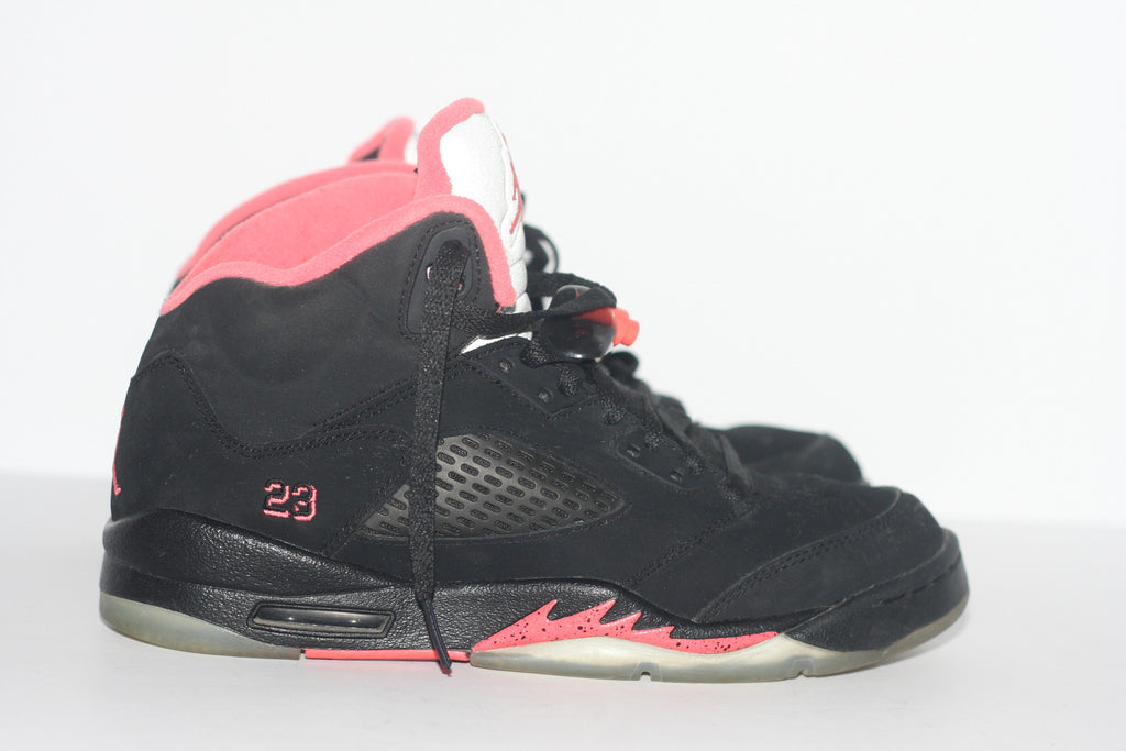 Air Jordan 5 Retro GS Black & Fusion Pink Women's Sneaker - Joyce's Closet  - 1
