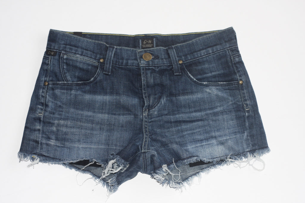 "Citizen of Humanity ""Ava"" Distressed Cut-Out Blue Denim Jeans Shorts - Joyce's Closet  - 1"