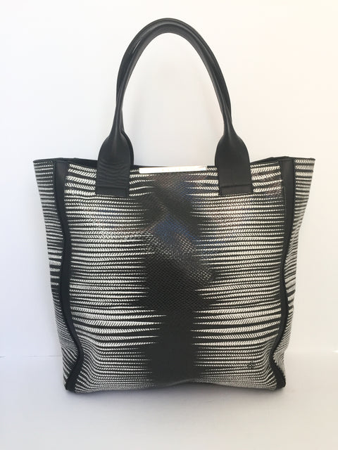 BCBG Max Azria Black & White Pattern Shopper Tote