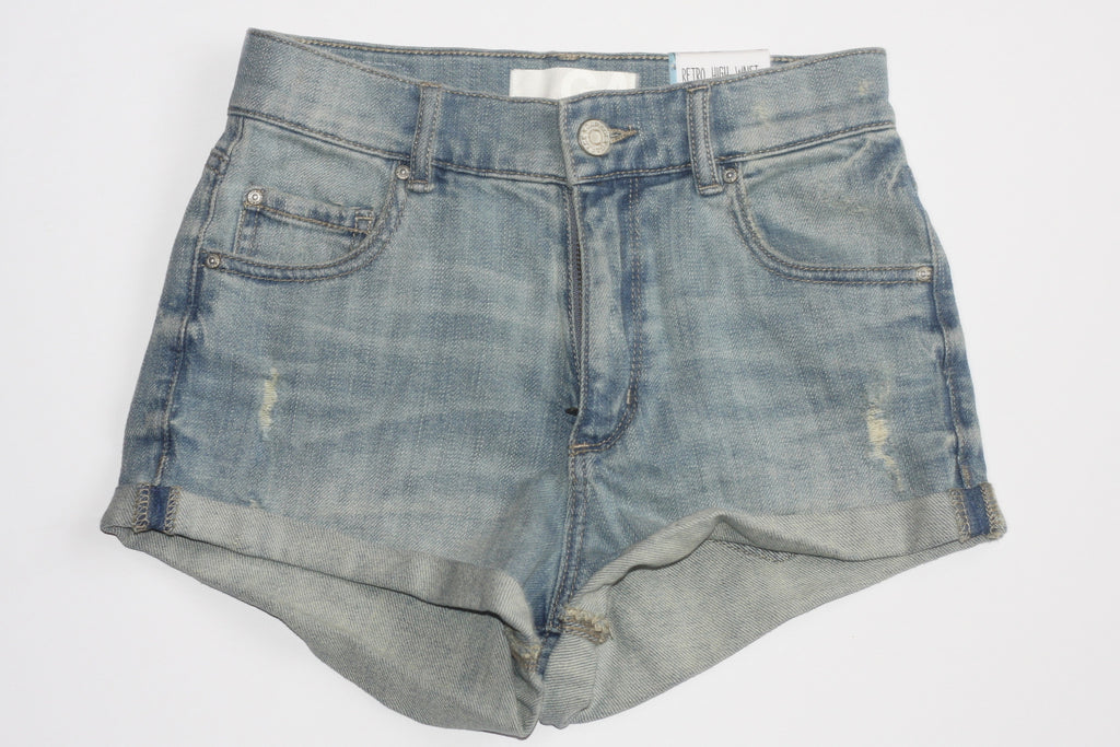 Brand New Vintage Style Garage Light Wash Denim Cut-Off Jean Shorts - Joyce's Closet  - 1