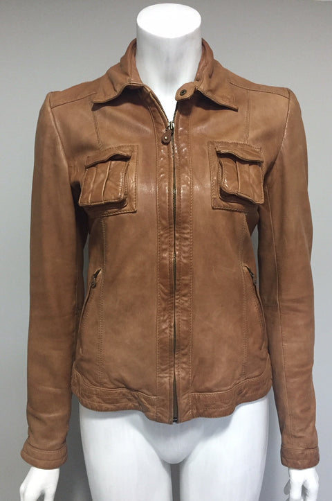 Massimo Dutti Camel Leather Jacket Size S