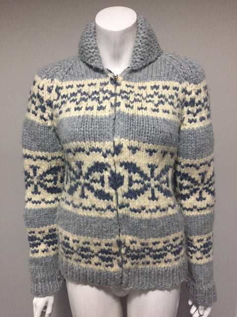 Vintage Cowichan Light Blue & Cream Sweater Size S/M