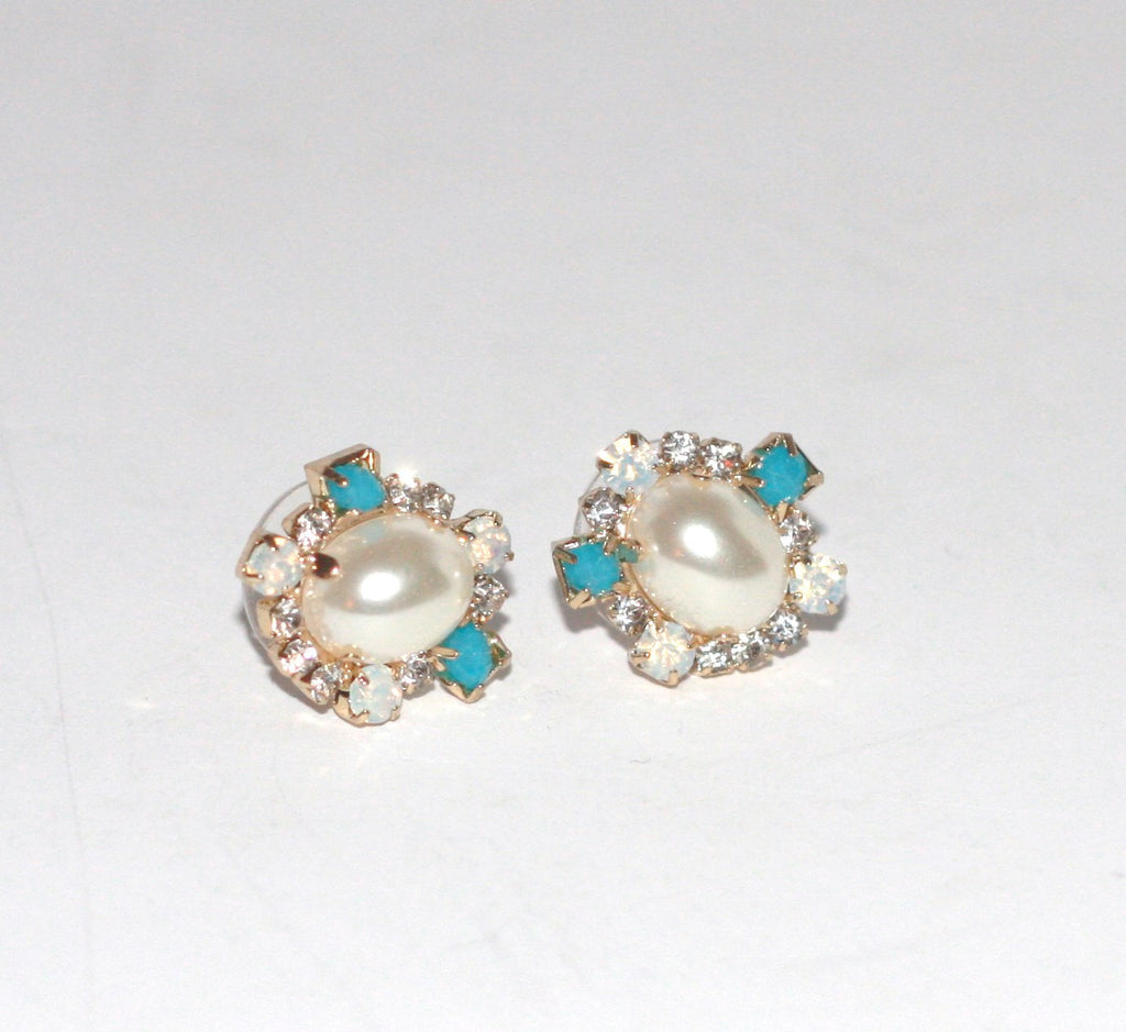 Brand New Anthropologie Flower Pearl & Torquiose mini Stud Earring - Joyce's Closet  - 1