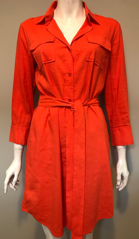 Theory Orange Linen Shirt Dress Size 8