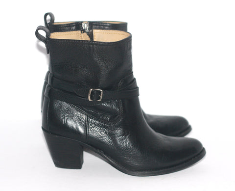 Frye Black Leather Ankle Boots - Joyce's Closet  - 1