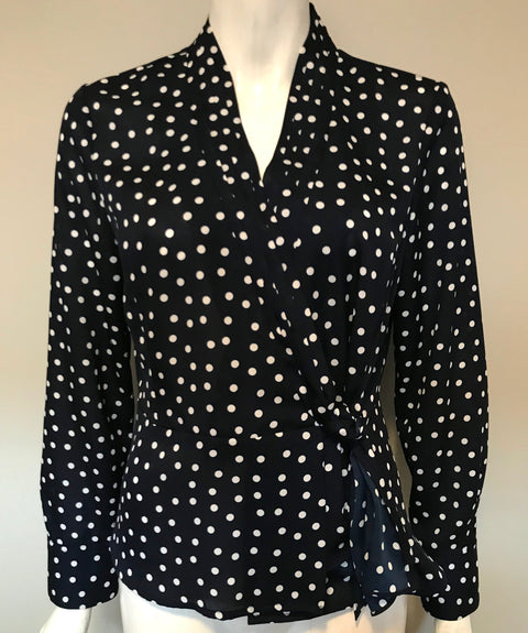 Jones New York Navy Polka Dot Blouse Size M