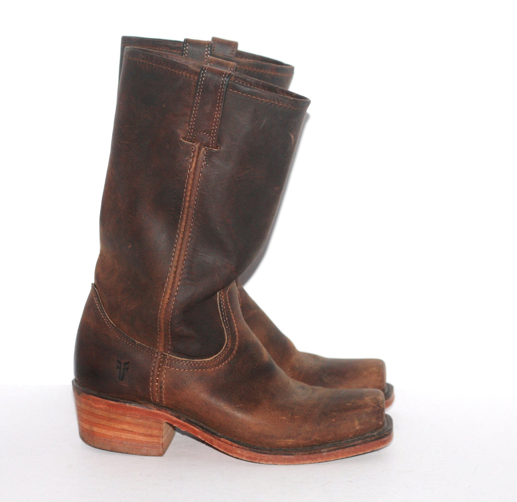 Frye Brown Square Toe Mid Shaft Leather Boots - Joyce's Closet  - 1
