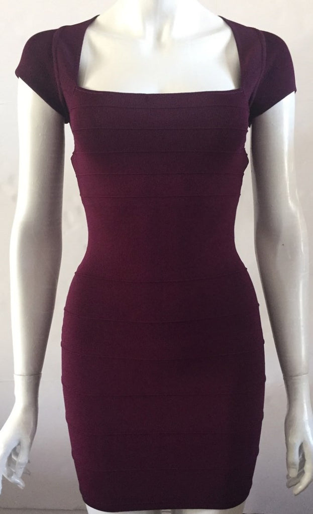 Guess By Marciano Purple Cap Sleeve Bandage Fitted Dress Size S PM108537