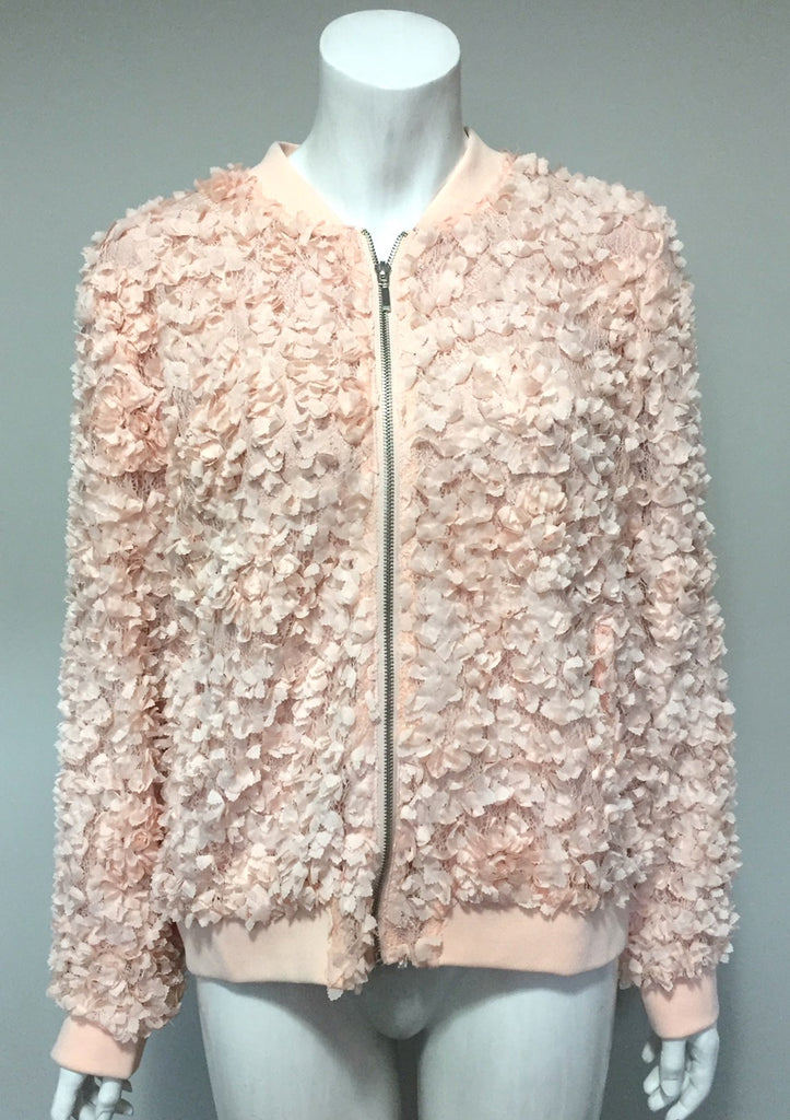Cupio Pink Rosette Bomber Jacket Size L