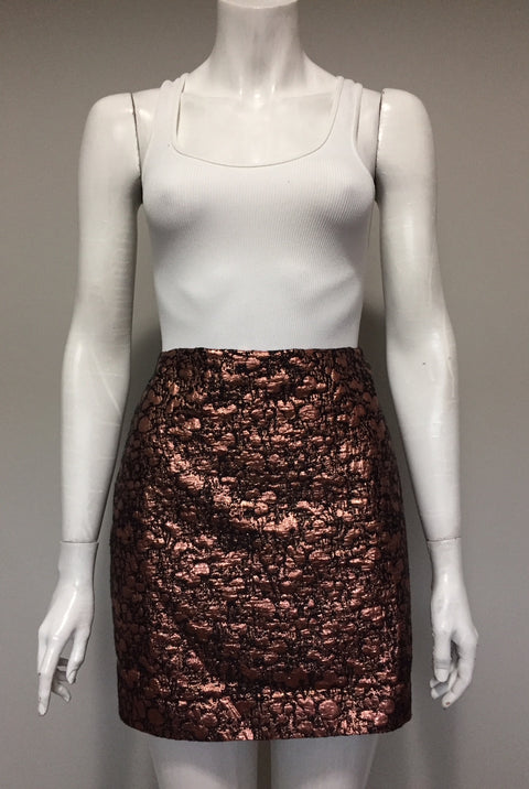 RW & Co Metallic Rose Gold Mini Skirt Size 8