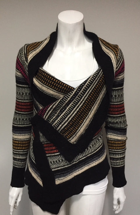BCBG Max Azria Avene Multi-Colored Draped Open Sweater Size XXS