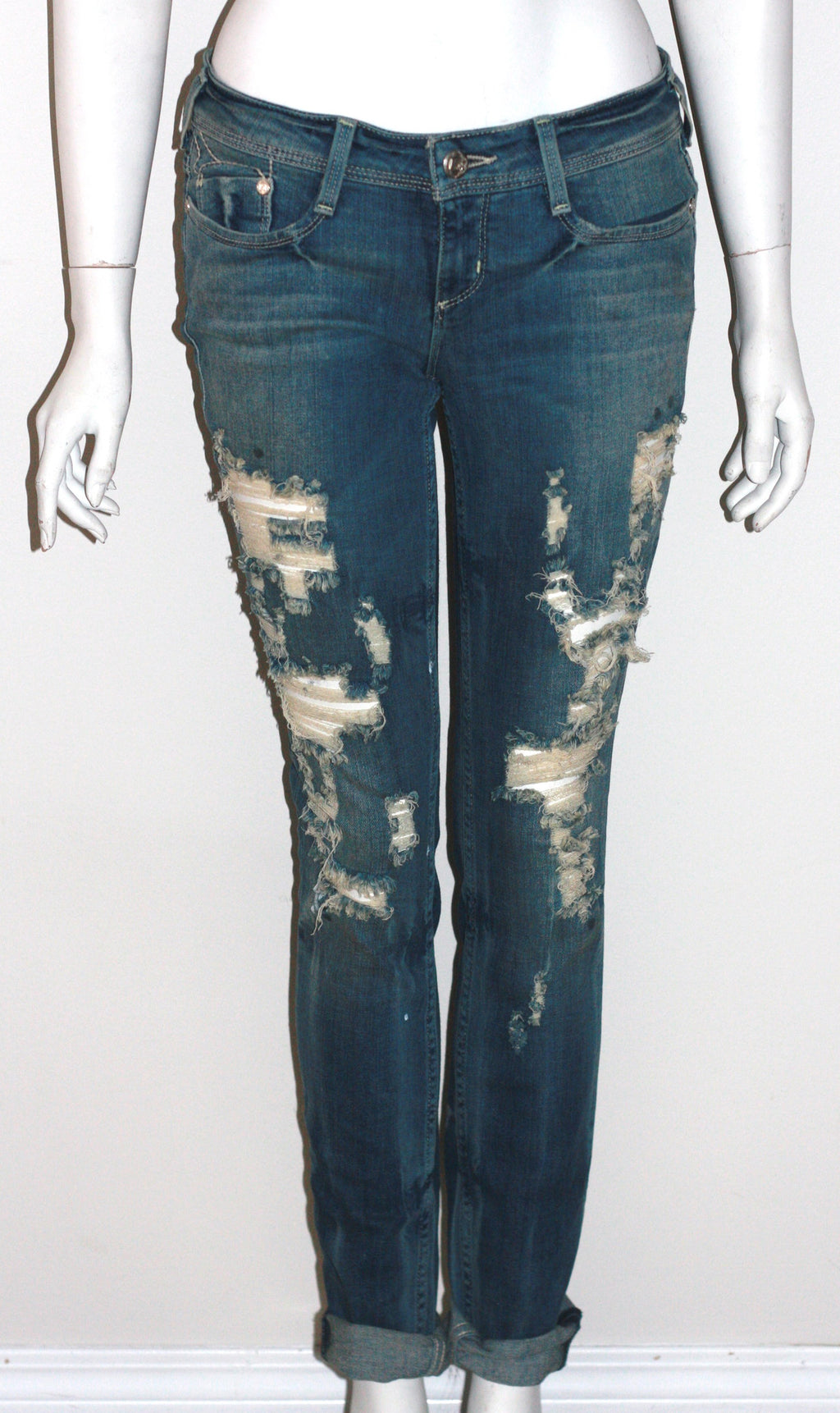 "Bebe Distressed ""Lively"" Boy friend Blue Jeans - Joyce's Closet  - 1"
