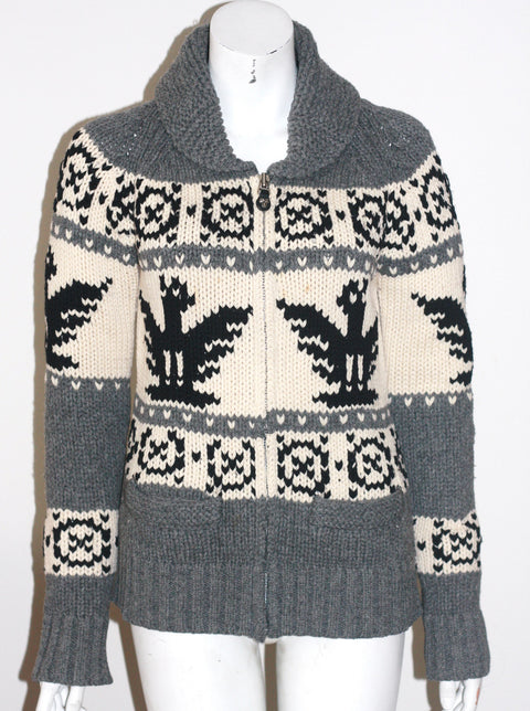 TNA Grey Tribal Print Lambswool Sweater - Joyce's Closet  - 1