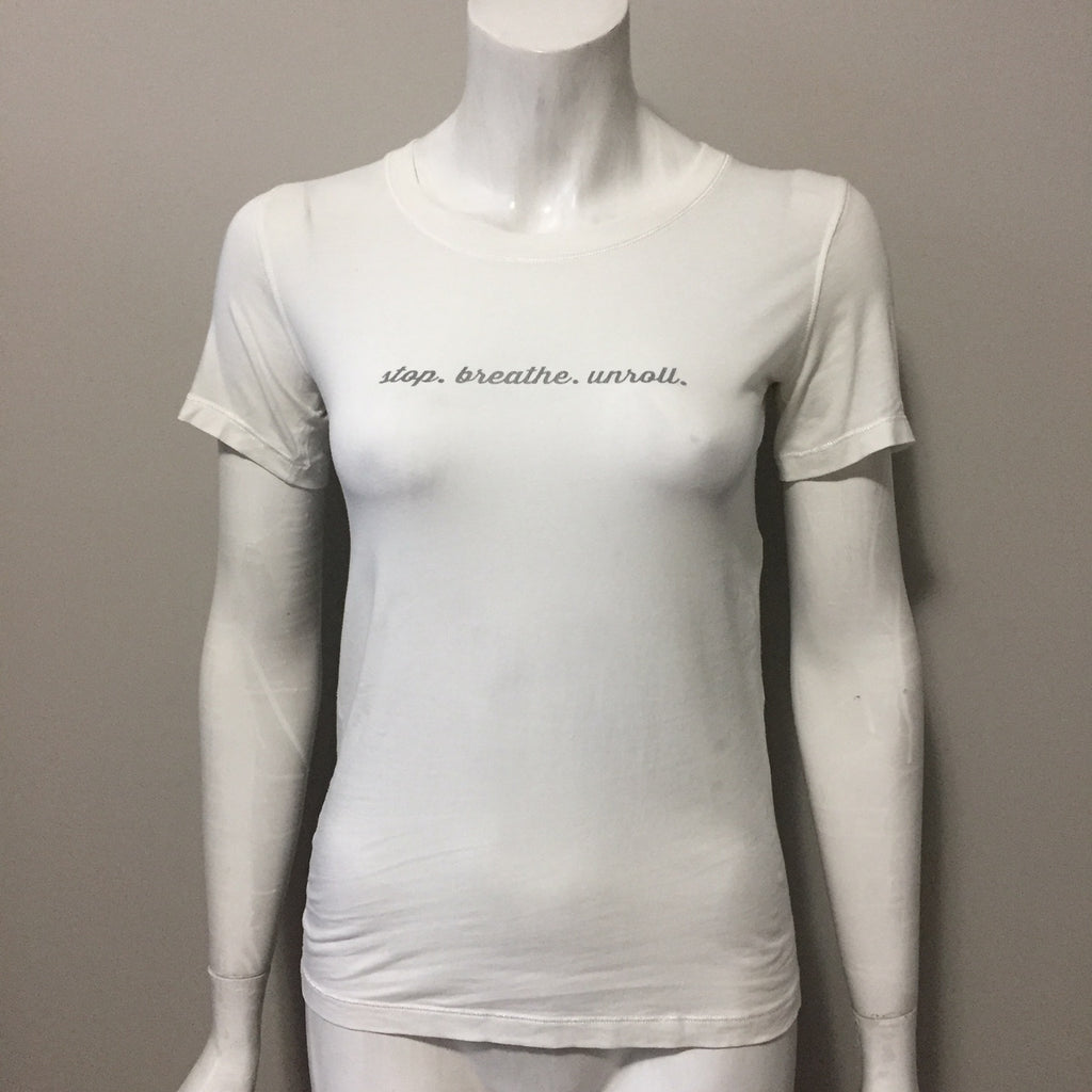 "Lululemon White Round Neck "" Stop Breath Unroll""  Tee Size S"