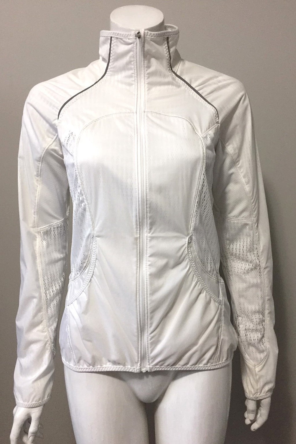 Lululemon White Mesh Running Jacket Size 6