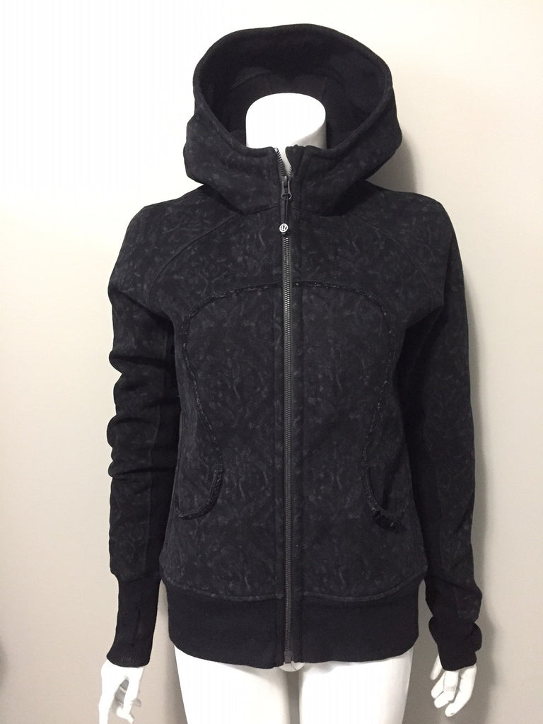 Lululemon Black Printed Scuba Hoodie Sweater Size 10