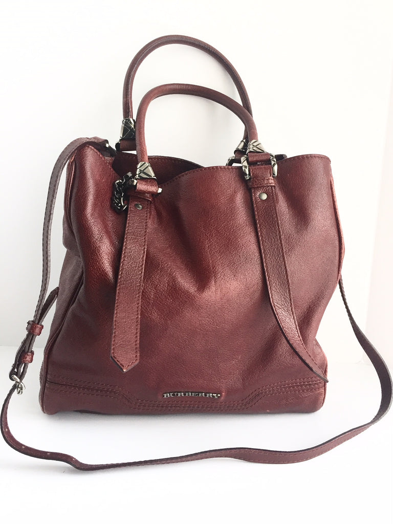 Burberry Maroon Leather Shoulder Bag