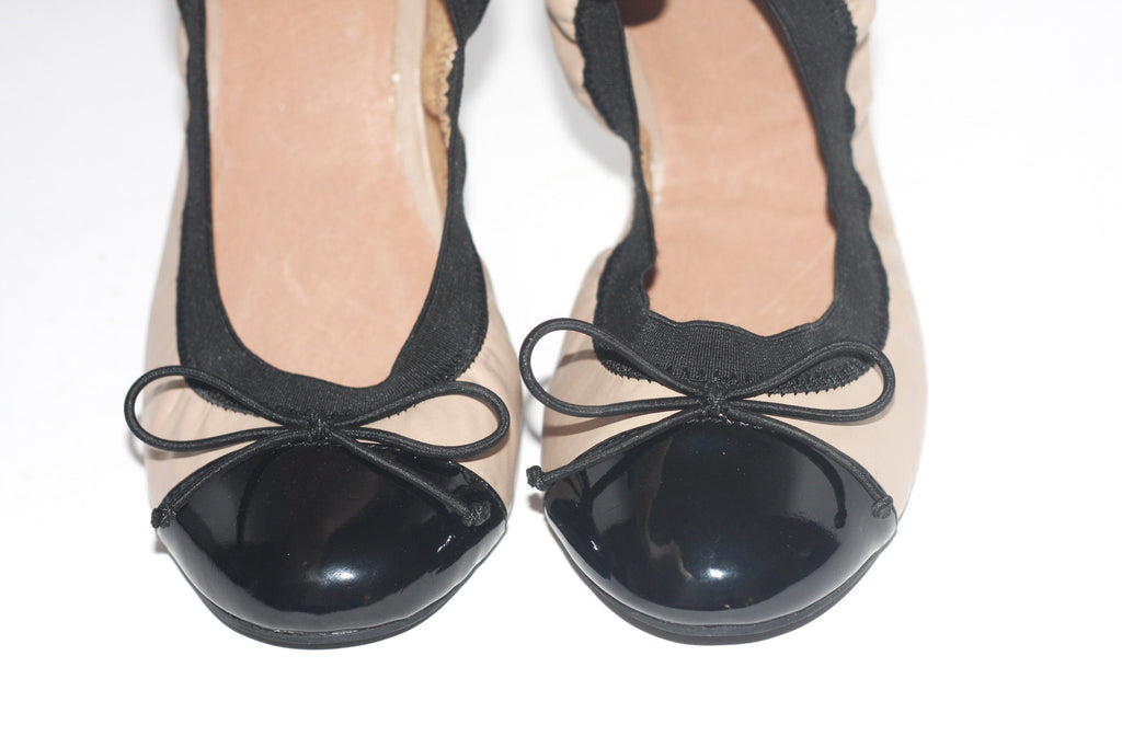 Brand New Aldo Patent Leather Taupe & Black Ballet Flats - Joyce's Closet  - 1