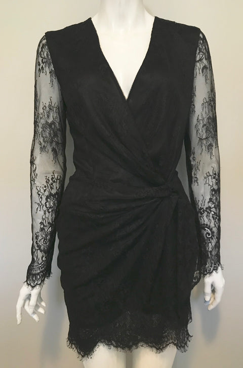 Marciano Black Long Sleeve Lace Dress Size S