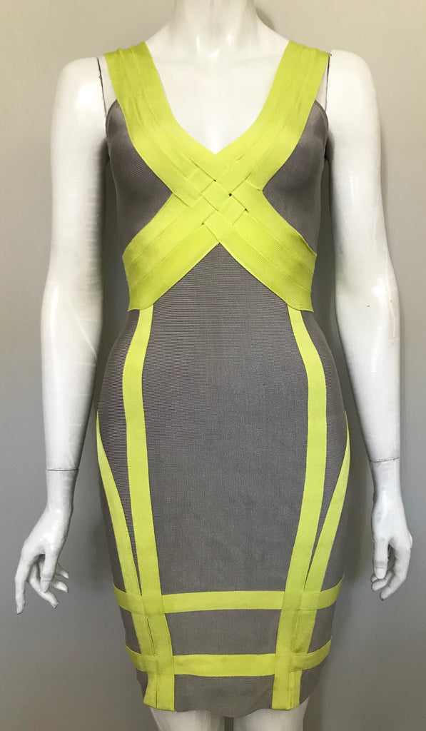 Bebe Grey & Neon Bandage Dress Size M