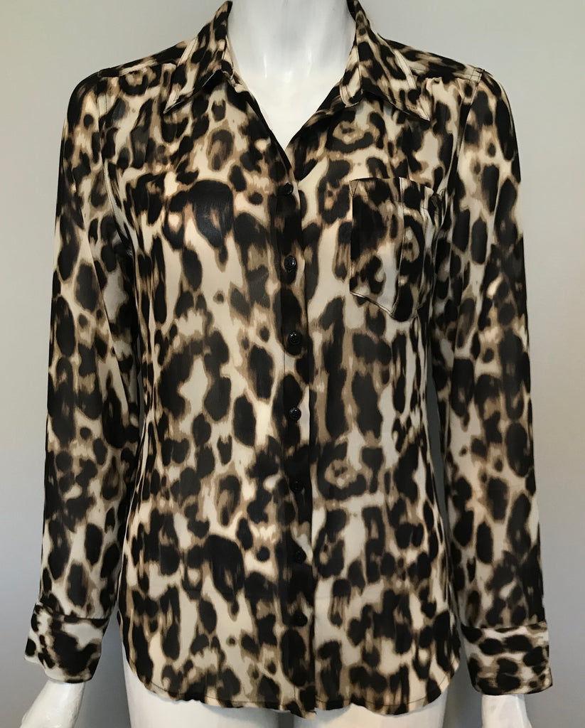 Guess Leopard Print Long Sleeve Blouse Size S
