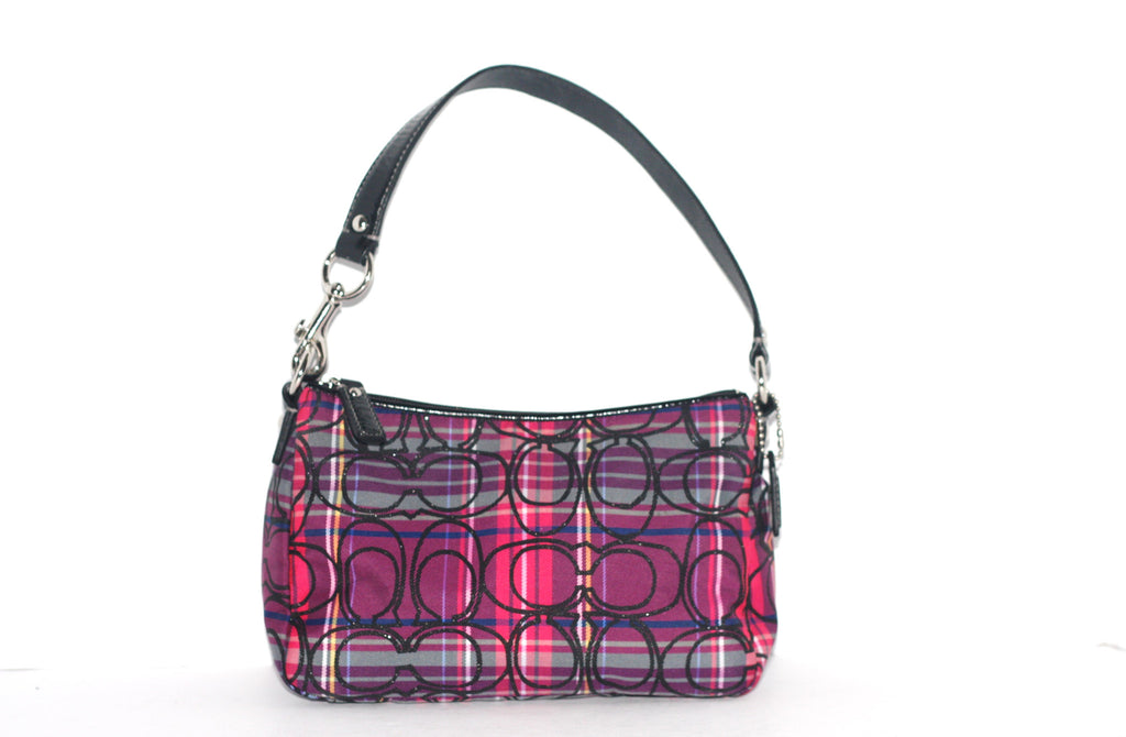 Coach Leather & Nylon Multi-Colored Plaid Mini Bag - Joyce's Closet  - 1
