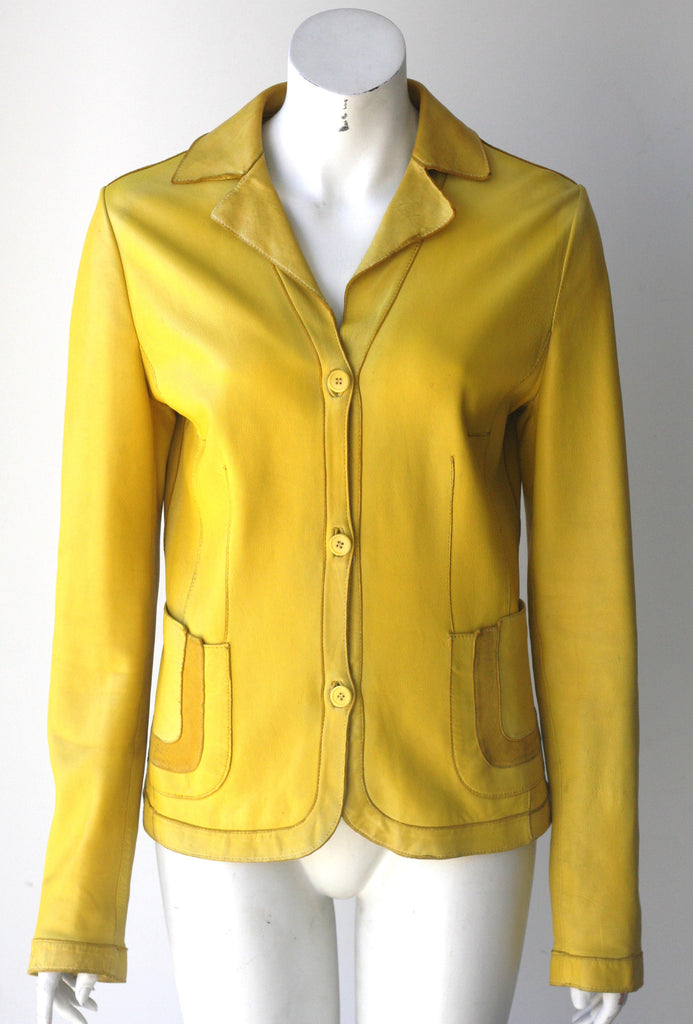 Vintage Preview Milano Yellow Button Up Leather Jacket - Joyce's Closet  - 1