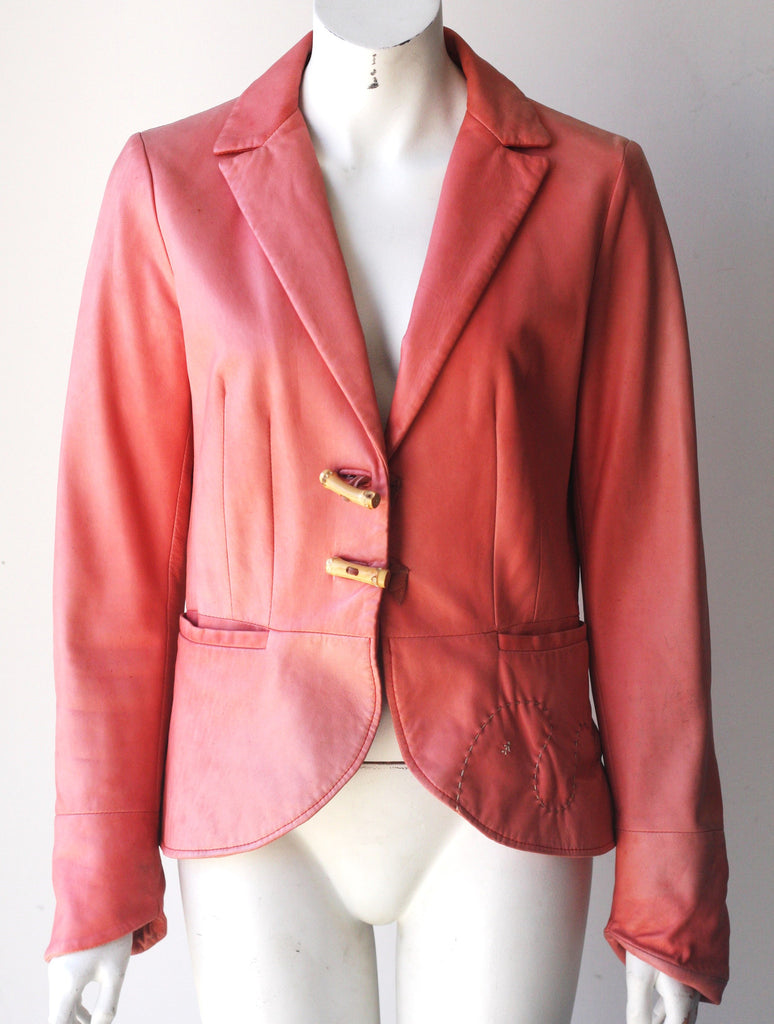 Vintage Henry Beguelin Pink Leather Blazer Jacket - Joyce's Closet  - 1