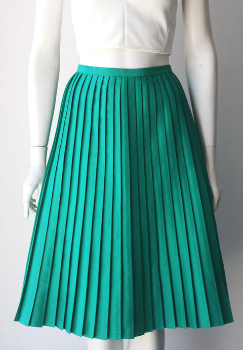 Max & Co Green Midi A Line Pleated Skirt - Joyce's Closet  - 1
