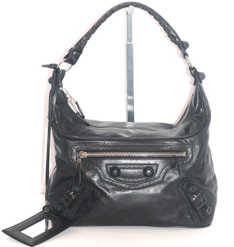 Balenciaga Black Hobo City Leather Handbag - Joyce's Closet  - 1