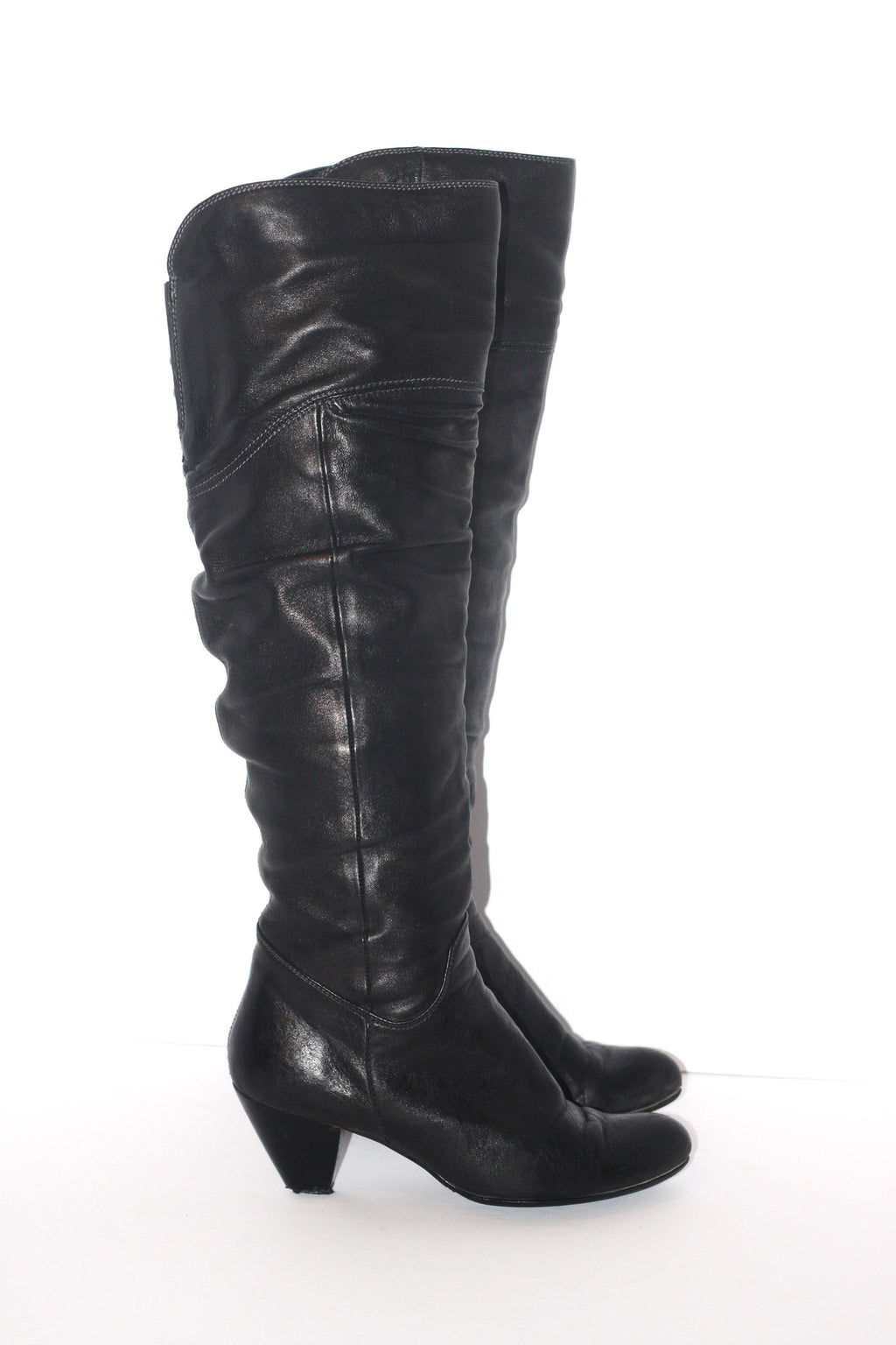 Arnold Churgin Black Tall Leather Boots - Joyce's Closet  - 1