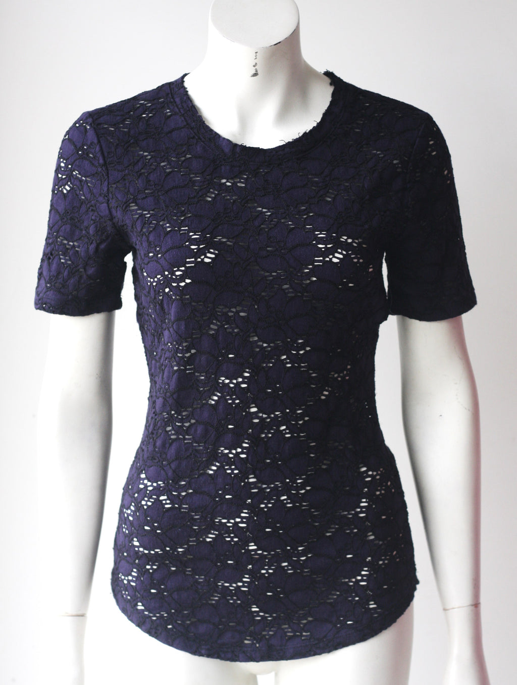 Babaton Navy Lace Round Neck Top - Joyce's Closet  - 1