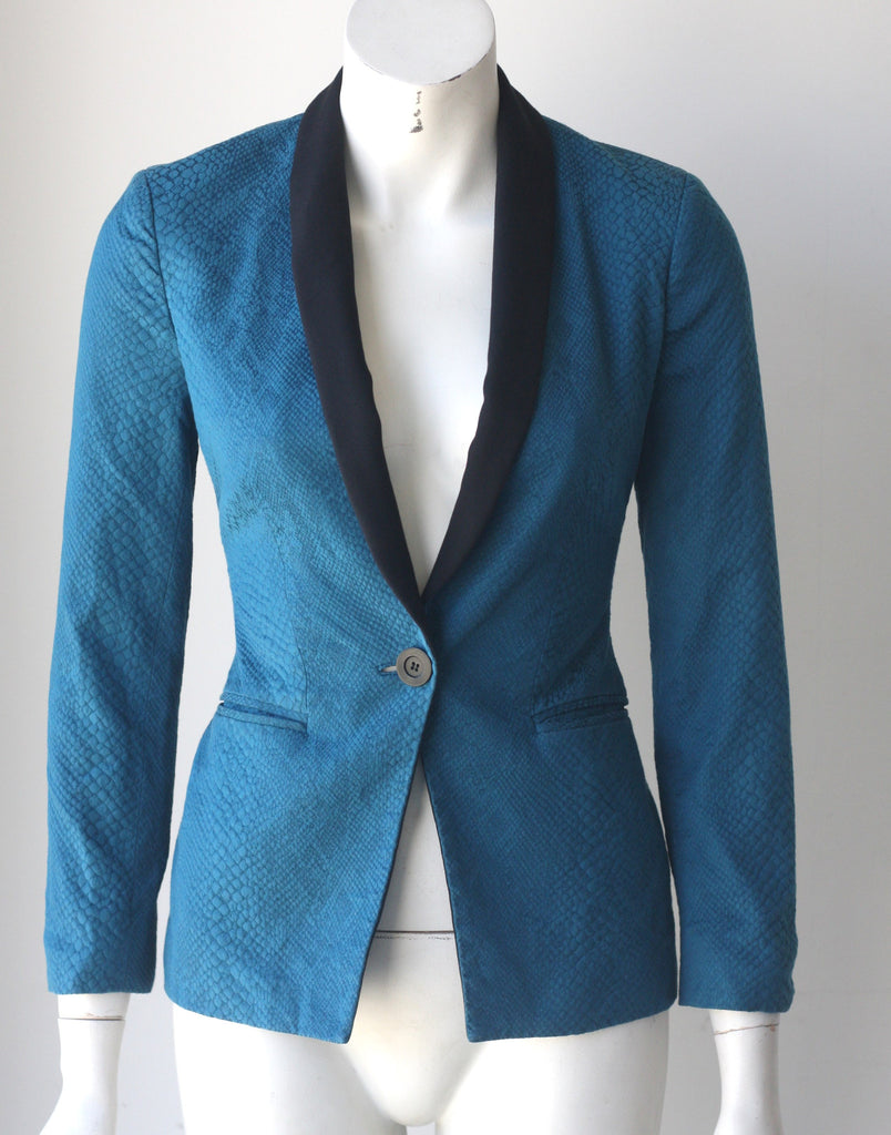 Bebe Teal Single Button Snake Print Texture Blazer - Joyce's Closet  - 1