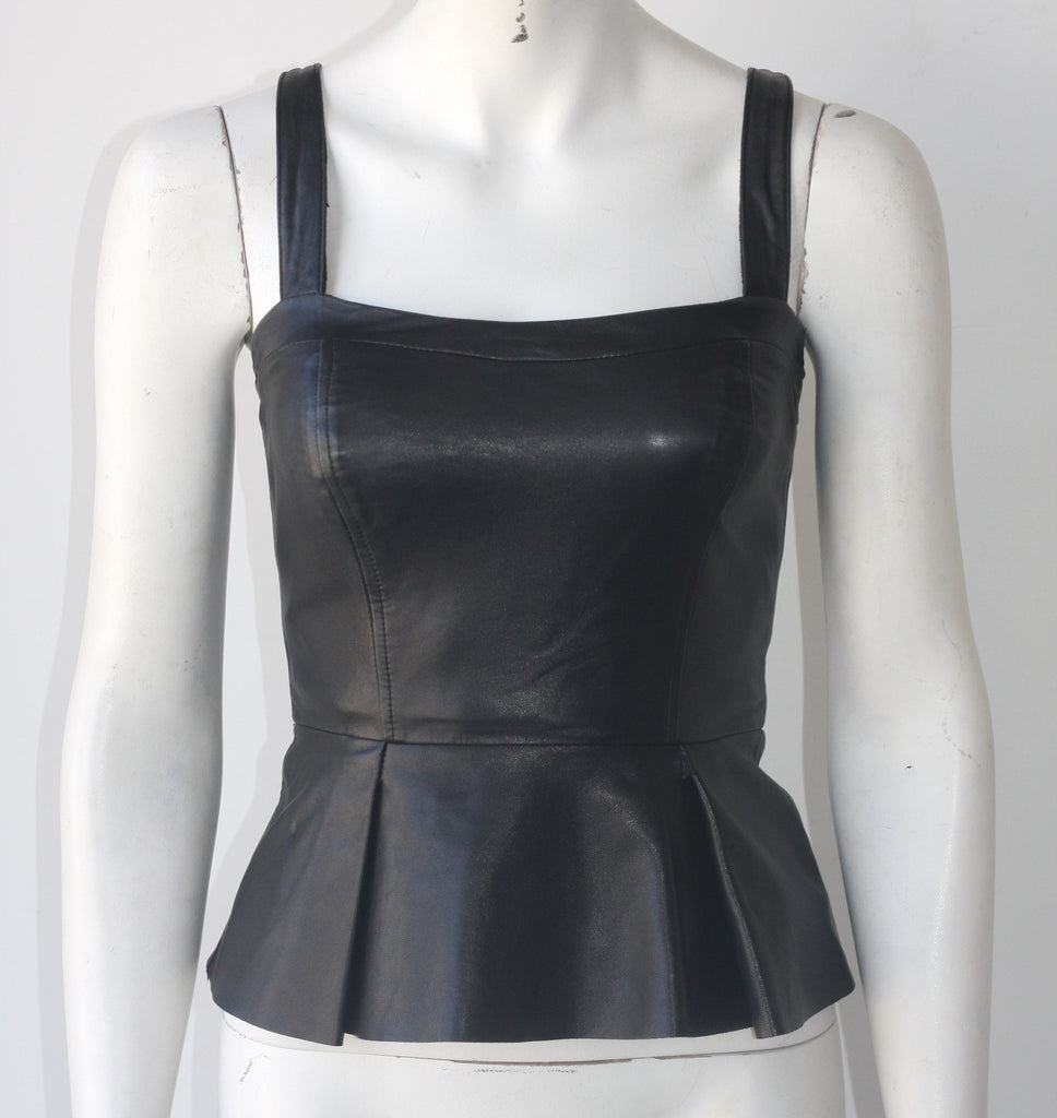 Bebe Black Leather Peplum Tank Top - Joyce's Closet  - 1
