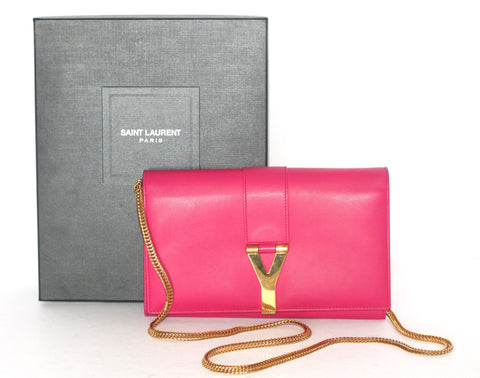 Saint Laurent Paris Bubble Gum Pink Y Ligne Gold Chain Clutch - Joyce's Closet  - 1