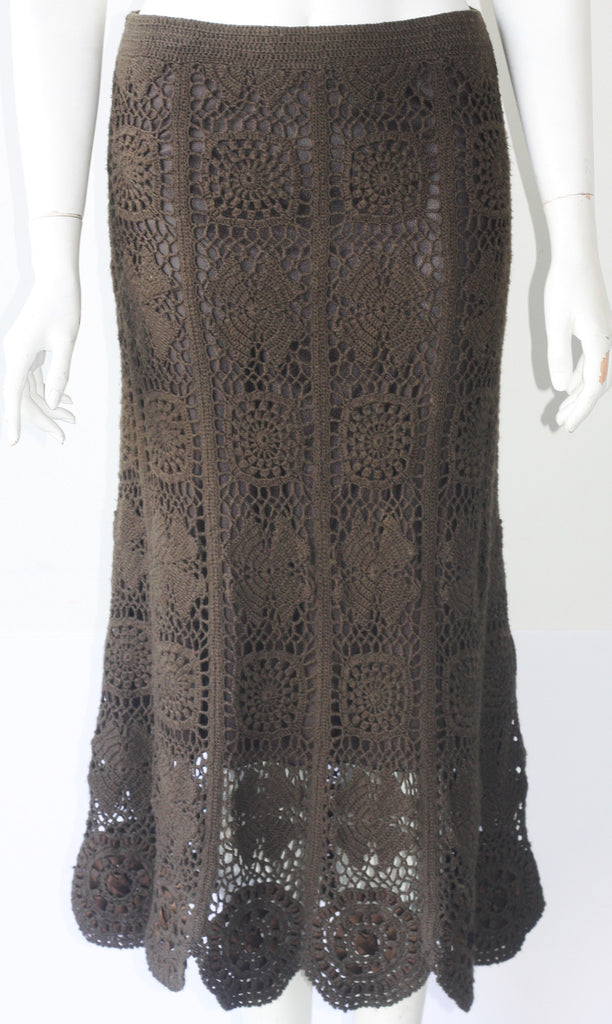 Nougat London Brown Crochet Midi/ Maxi Skirt - Joyce's Closet  - 1