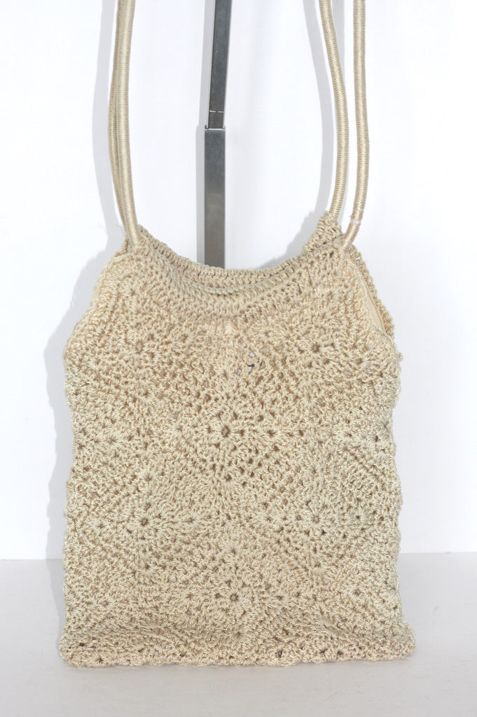 Vintage Laura Ashley Crochet Stretch Woven Cream Bag - Joyce's Closet  - 1