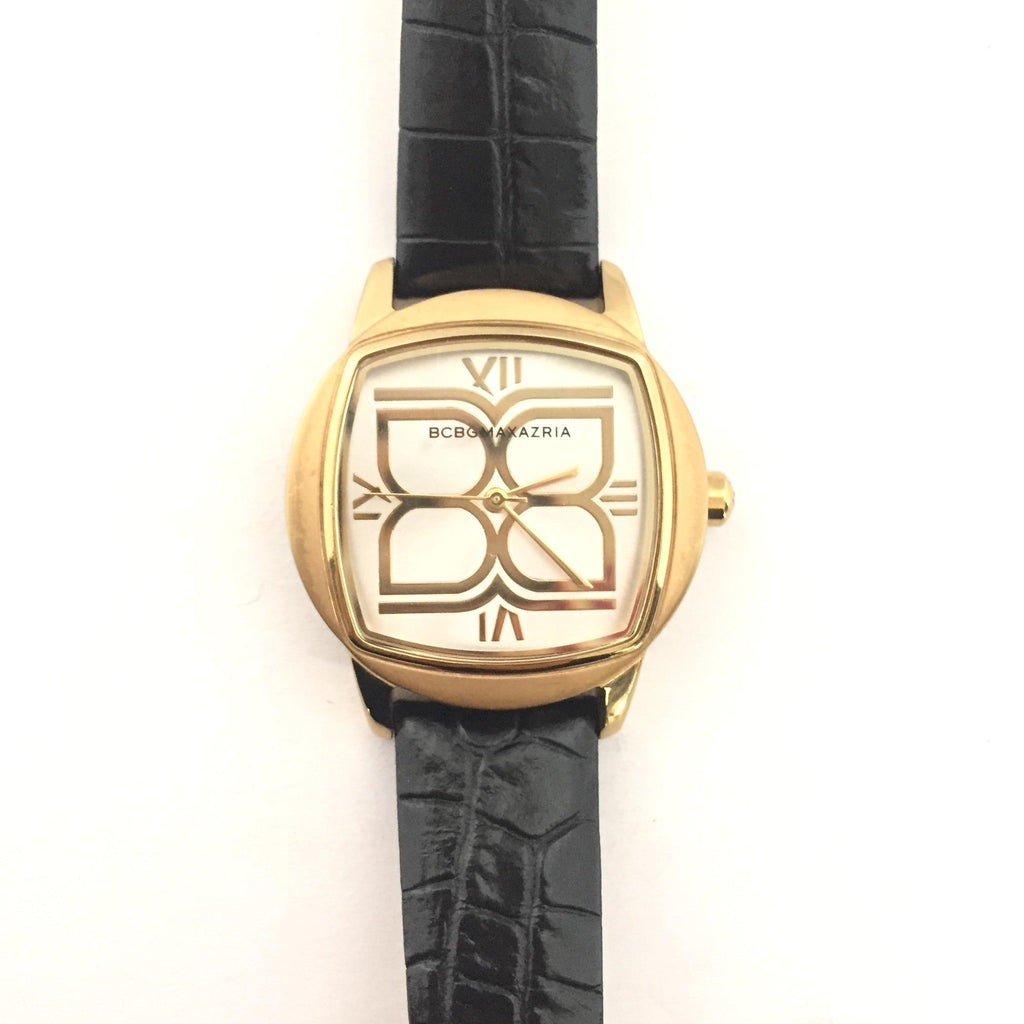 BCBG Max Azria Black & Gold Leather Watch