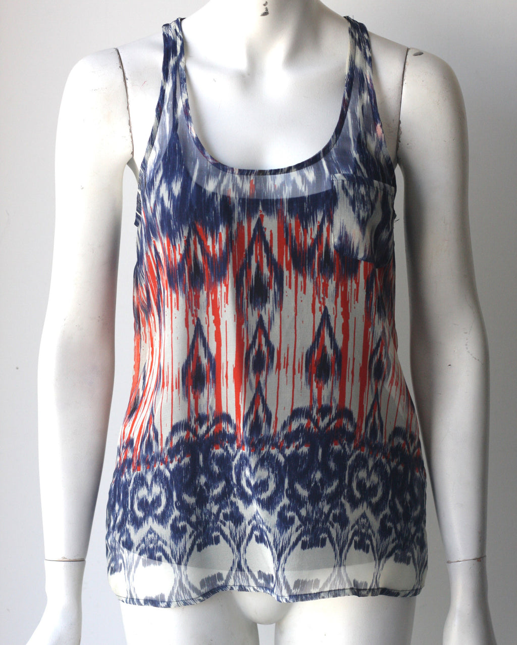 Joie Orange & Navy Sleeveless Silk Blouse - Joyce's Closet  - 1