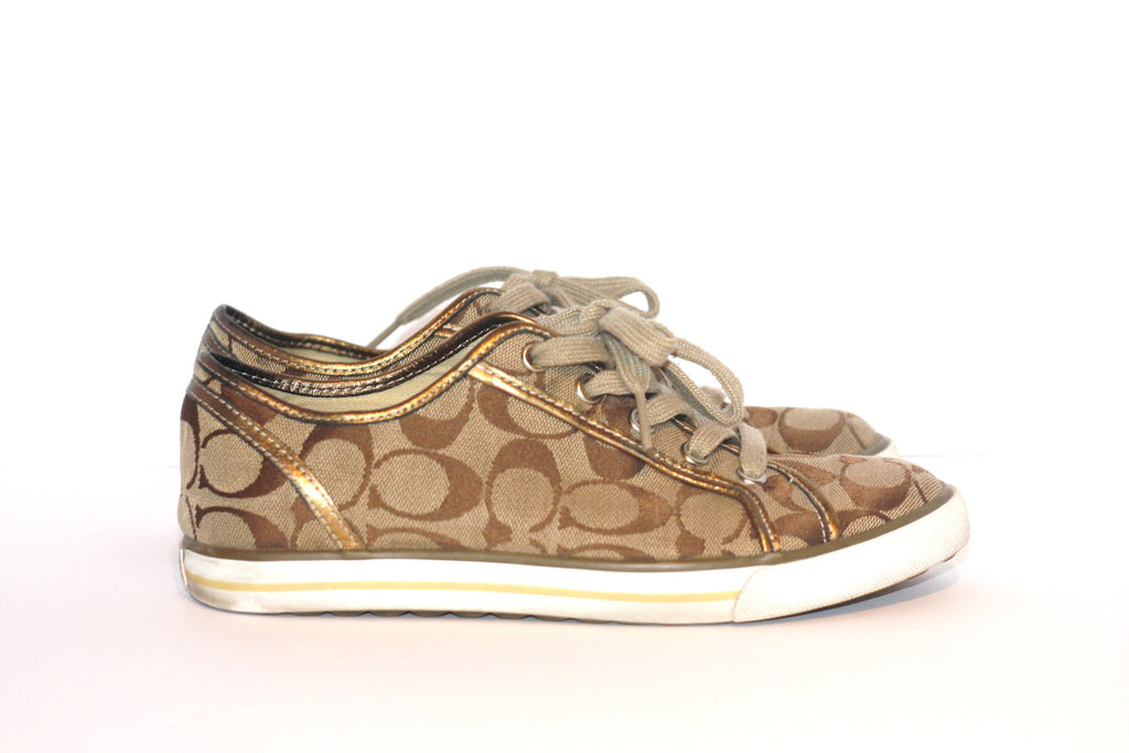 Coach Dawnell Monogram Tan Canvas Sneakers - Joyce's Closet  - 1