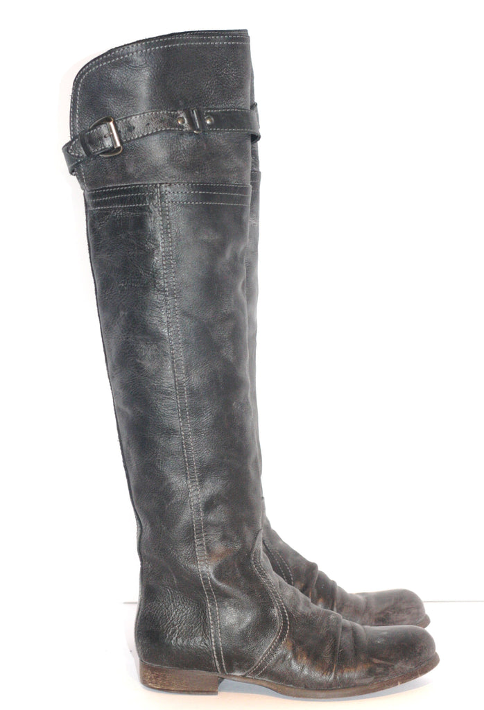 "Lavorazione Artigiana "" Rydem"" Tall Grey Leather Riding Boots - Joyce's Closet  - 1"