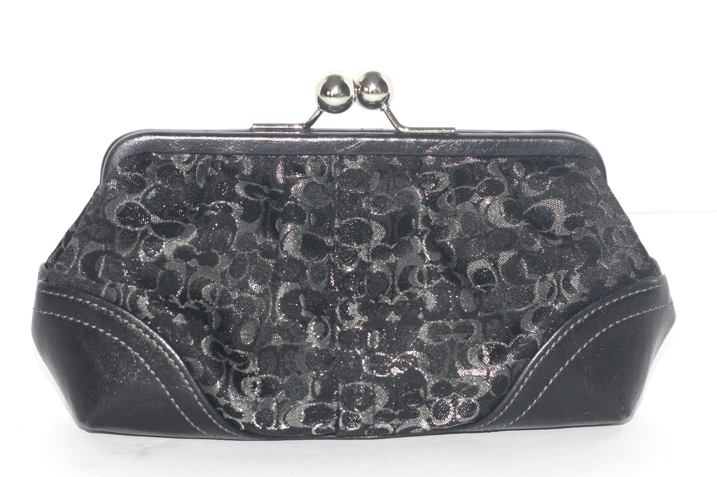 Brand New Coach Black Mini Canvas Monogram Evening Clutch - Joyce's Closet  - 1
