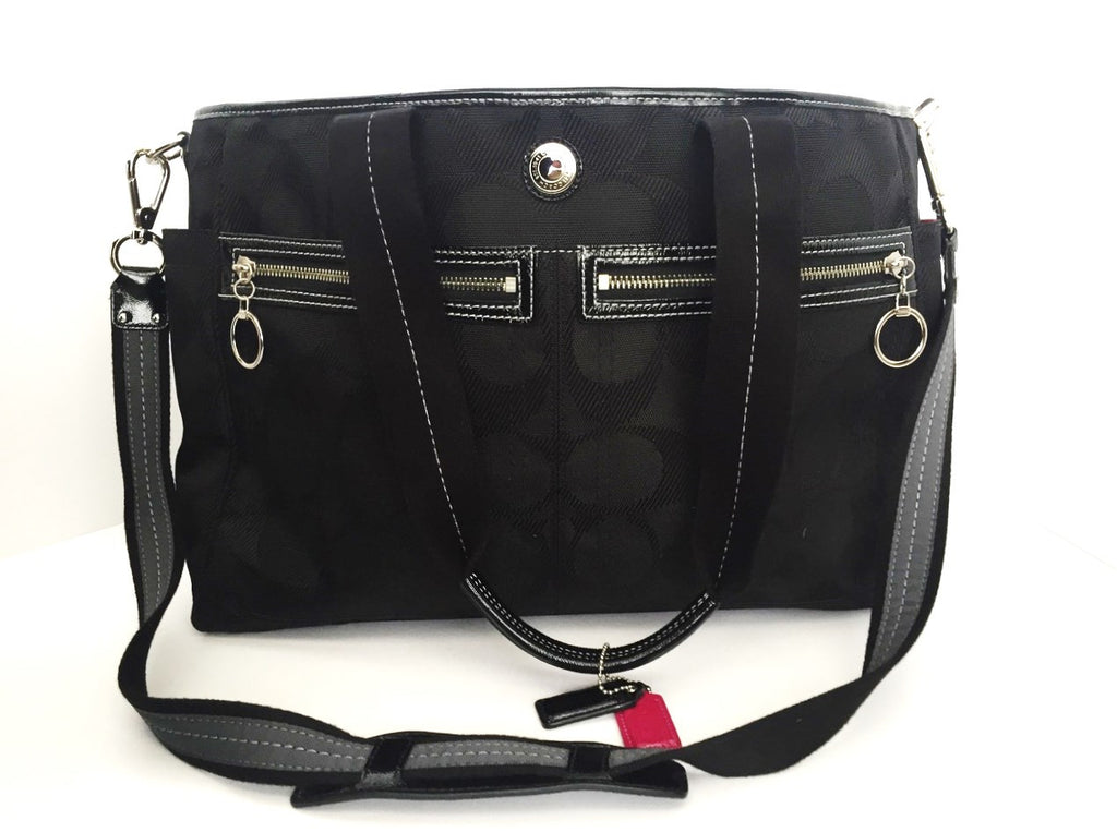 Coach Black Monogram Canvas Large Diaper Bag