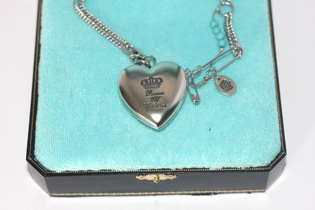 Juicy Couture Silver Double Chain Heart Locket Necklace - Joyce's Closet  - 1