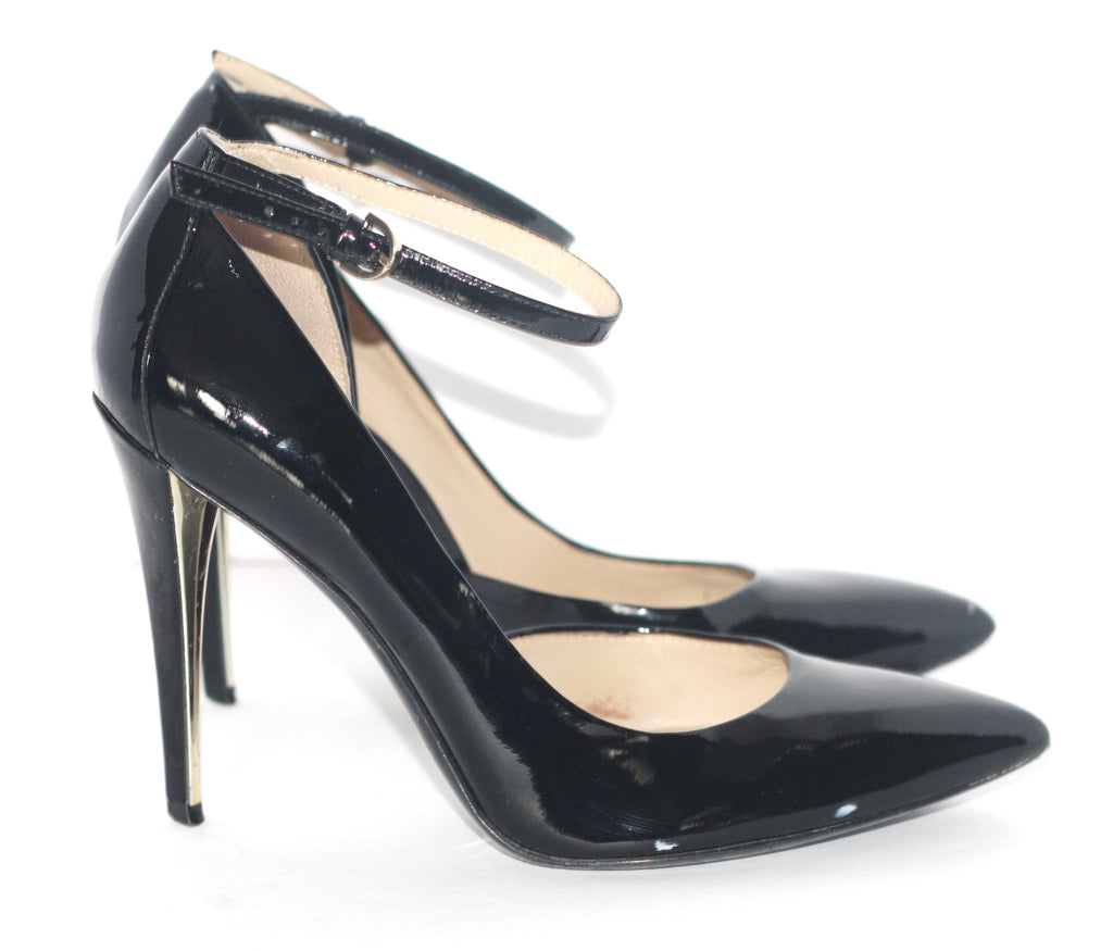 Marciano Black Patent Leather Asymmetrical Ankle Strap Pump - Joyce's Closet  - 1