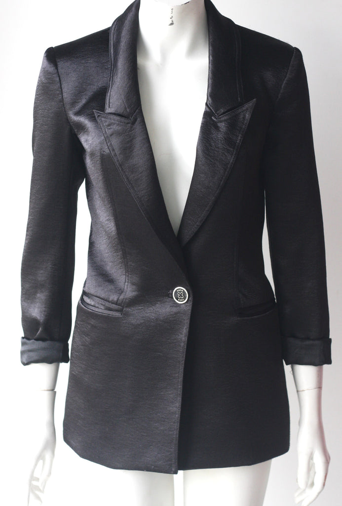 Bebe Long Line Black Satin Boyfriend Jacket - Joyce's Closet  - 1