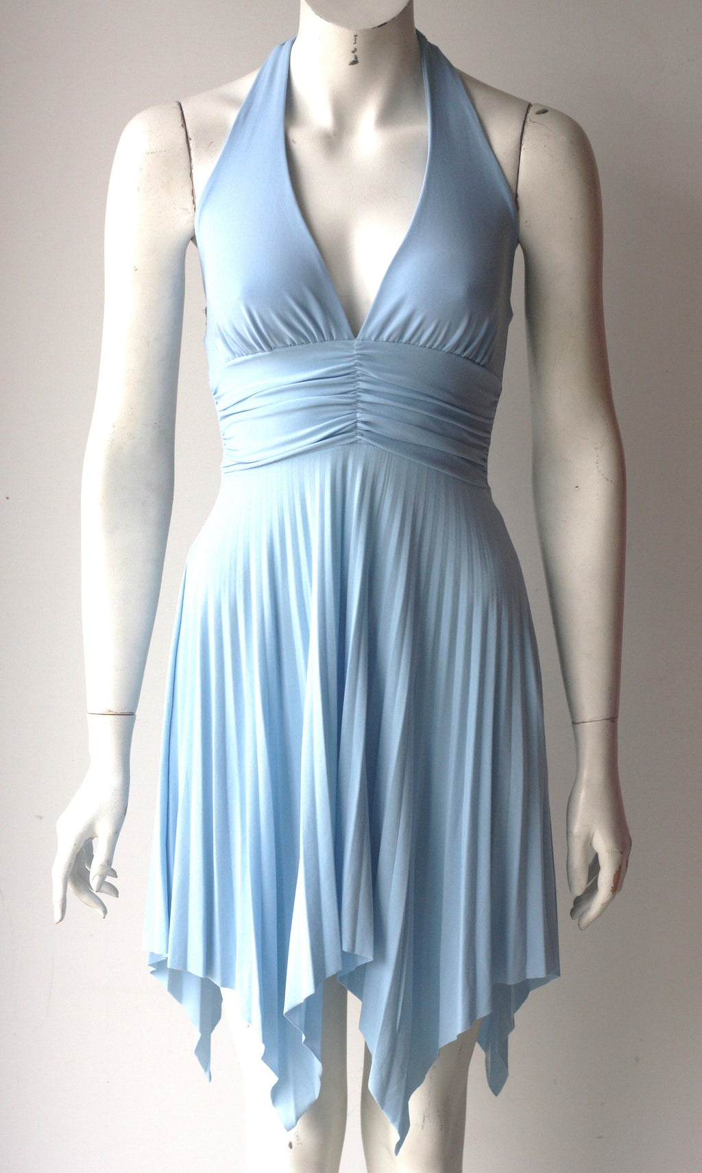 Brand New Gianni Versace Couture Powder Blue Halter Dress - Joyce's Closet  - 1